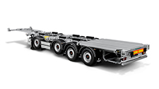 Low-bed versatile container semitrailer with extended axle