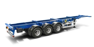 Reinforced container semitrailer on double-tire wheels