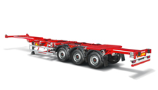 Extendable container semitrailer