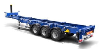 Container semitrailer with hydraulic hoist